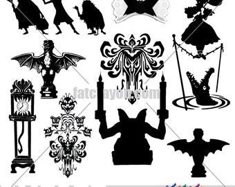NEW Clip Art Added!!  INSTANT DOWNLOAD - Haunted Mansion Clip Art Package - Png, Jpeg, Eps, Svg - Disney World, Disneyland