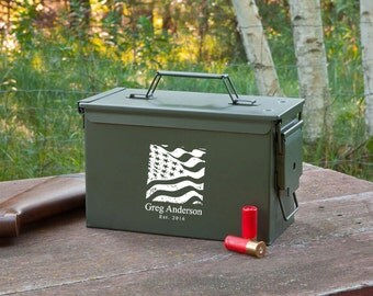 Personalized Genuine Metal Ammo Box - Personalized Ammunition Box - Metal Ammo Box - Ammo Box - Groomsmen Gifts - Gifts for Men - GC1409