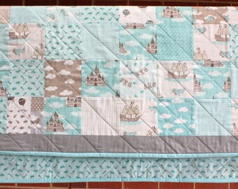 Blue Storybook Moda Nursery quilt