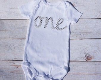 ONE First Birthday Sequin Appliqué Onsie