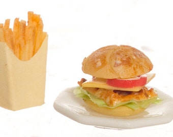 Dollhouse Miniatures 1:12 Scale HAMBURGER AND FRIES #A2944
