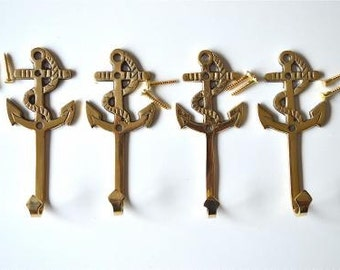 A set of 4 solid brass antique style nautical ships anchor coat hooks 2017
