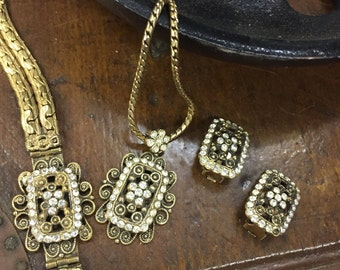 Vintage Jewelry, Necklace, Clasp Bracelet and Clip On Earring Set, Rhinestone Accents
