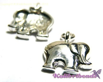 2x Elephant Charm 15 mm - Silver plated