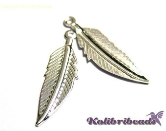 Feather Charm 35 mm - Silver plated