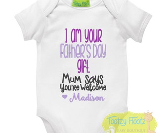 Father's Day Gift - Personalised I am your gift (Purple) Onesie / Tee / Bodysuit - First Father's Day / Daddy