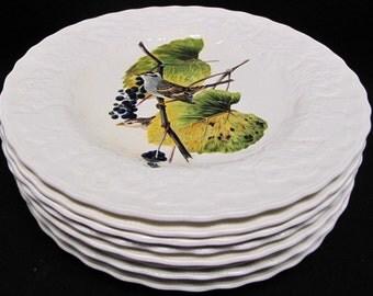 "Set Of 8 Alfred Meakin England Audubon Birds Of America Dinner Plates 8.75"""