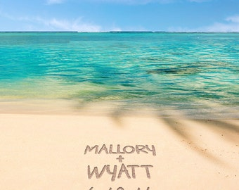 Romantic Tropical Beach Decor - Names in the Sand - Personalized Wedding Gift Photo - Anniversary Gift pp160