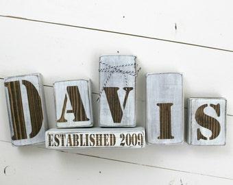 Family Name Blocks - Stencil Style