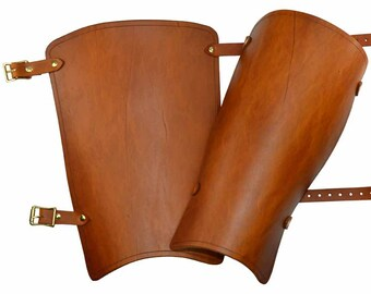 Simple Leather Greaves - Medieval Leg Armour - #DK5205