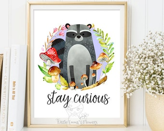 Stay curious printable gift nursery decoration Nursery wall art print illustration quotes raccoon print Raccoon Wall art Decor print,  142