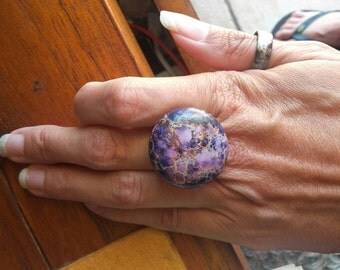 Ring adjustable Jasper purple sediment