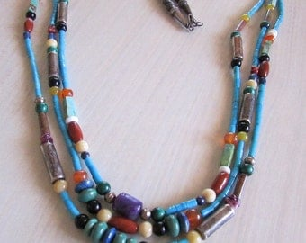 Sterling Silver and Multi Stone 3 Strand Bead Necklace