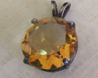 Sterling Silver and Faceted Citrine Pendant