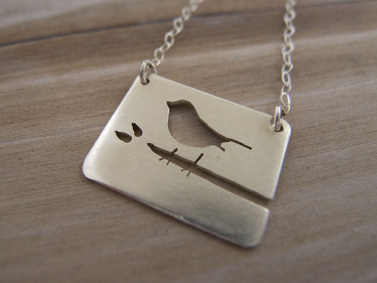 sterling silver bird necklace silver bird on branch necklace