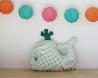 Pad whale white polka dots and green