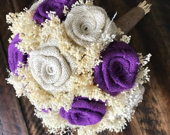 Purple Ivory Bridal Bouquet Choose Size Burlap Wedding Bouquets