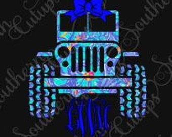 Lilly Pulitizer inspired JEEP vine monogram for car, Yeti tumbler, coffee cup, wineglass, cellphone, laptop, binders, etc