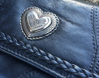 Leather Concho Wallet - Vintage Black Braided & Patch Leather Wallet with Heart Shaped Southwestern Concho - Women's Biker Wallet - 1980s