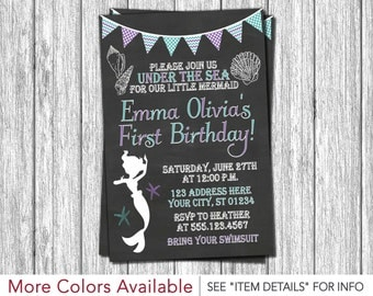 Mermaid Birthday Invitation - Under the Sea Invitations