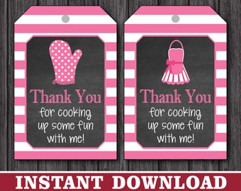 Cooking Party Favor Tags - Thank You Party Favor Tags - Printable Digital File - INSTANT DOWNLOAD