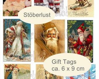9 x vintage Santas ca 6 x 9 cm size download digital sheet instant collage