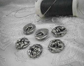 Sleeping Dragon Pewter Buttons, set of Six