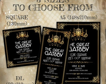 1920's Gold Art Deco Gatsby Party Invitation. Customise and print from the comfort of your own home.