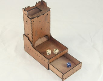 Ruined Castle Dice Tower with drawer for dice storage