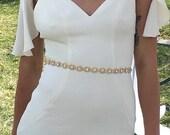 Full Length Crystal Rhinestone Bridal Belt with Clasp Closure - Thin Bridal Belt - Bridal Sash - Gold Bridal Belt -Bridesmaids Belt EYM B036