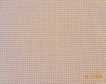 "1 1/4 Yards of Tiny Pink & White Gingham Check Cotton Fabric - 44"" wide"
