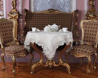 """Bobbin  tablecloth """"Dawn"""" Russian bobbin lace handmade"""