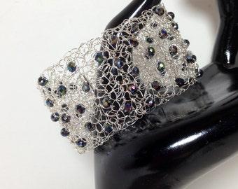 Statement Bracelet Cuff, Jet Black Luster Gemcut Glass, Non-Tarnish Silver Plated Wire, Wire Crochet