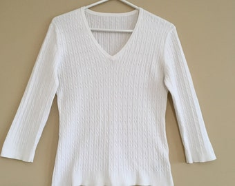 White Cable Knit Sweater V Neck  Classic Style Cotton Pullover Size Petite Small Chest 34 inches
