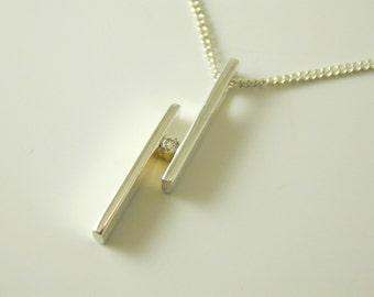 "Cubic Zirconian drop pendant necklace sterling silver 162 - 18"" long 3.5g"