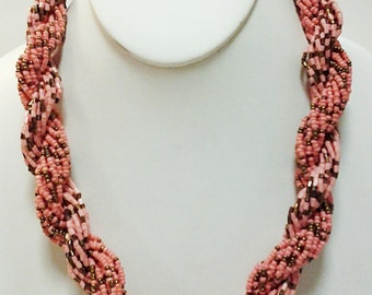 Peach and Copper Multi Strand Twisted Necklace / Peach Beaded Necklace.