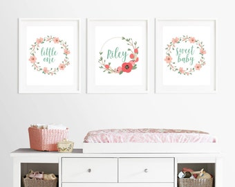 Floral Personalized Name - Printables - Wall Art - Nursery Decor - Baby Gift - Floral Wreath - Coral Mint Decor - Prints - Typography