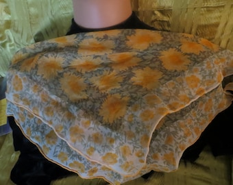 lovely sheer Vera scarf with lady-bug logo.Fall colors Gold and orange Floral 1960 accessory