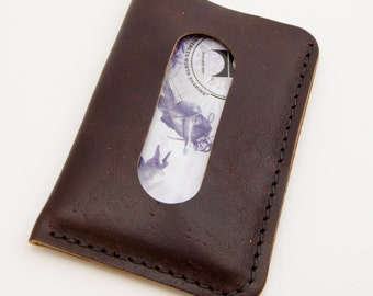 The Card Courier - Dapple Brown Horween® Chromexcel Front Pocket Card Wallet