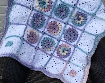 Girly puff flower baby blanket