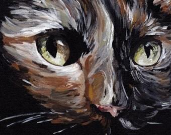 Calico Cat Art Print, canvas or paper calico cat art print