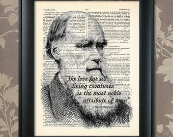 Charles Darwin Quote, Charles Darwin print, Darwin Poster, Charles Darwin art, Darwin wall art, Science, Biology, Animal Love