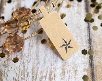 Star price tag sticker label jewelry brown kraft paper