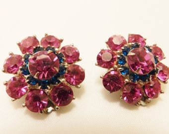 Vintage Rhinestone Flower Pink and Blue Clip On Earrings