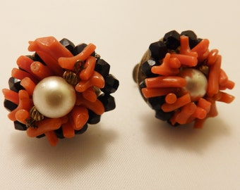 Coral Branch and Black Glass Bead Screw Back Cluster Earrings