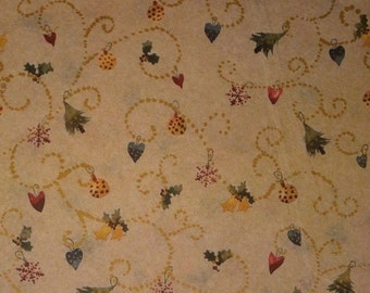 "Primitive Christmas Tissue Paper / Gift Wrap #849 - on Kraft Tan ...10 large sheets ... 20"" x 30"""