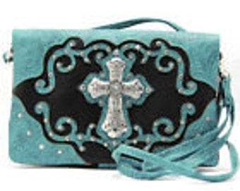 Cross Design Hipster Wallet Sling Messenger Bag Purse
