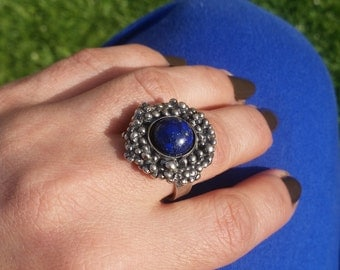 Lapis ring , Flower silver ring , Large silver ring , Unique silver rings , artisan silver ring , lapis lazuli jewelry  , wide band ring ,