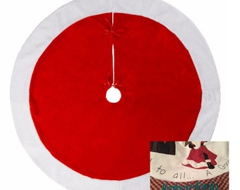 Traidition Red Christmas Tree Skirt with white fur cuff - Personalized