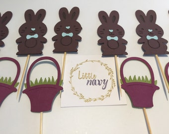 Handmade Cupcake Toppers - Easter Rabbit and Basket Theme x 12